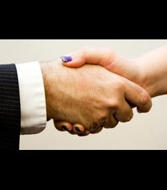 A handshake between two people.